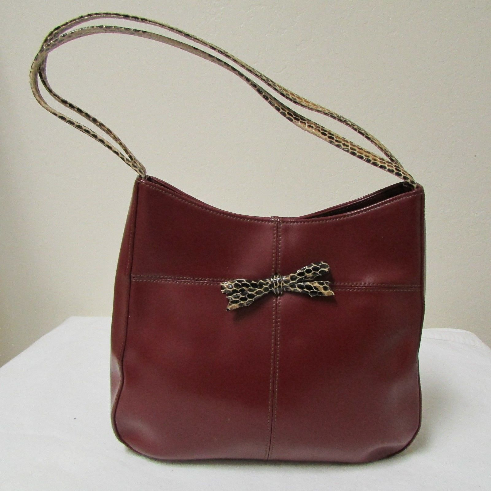 bd0062eab005 Deep Red Leather Handbag With Double Faux Snakeskin Strap By Hype -  45.00