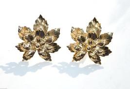 vintage leaf leaves clip earrings gold - $8.01