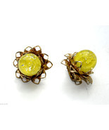 vintage clip earrings yellow lucite cab cabochon flower floral - $7.91