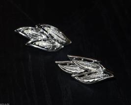 vintage silver Coro Clip earrings leaf leaves - $4.94