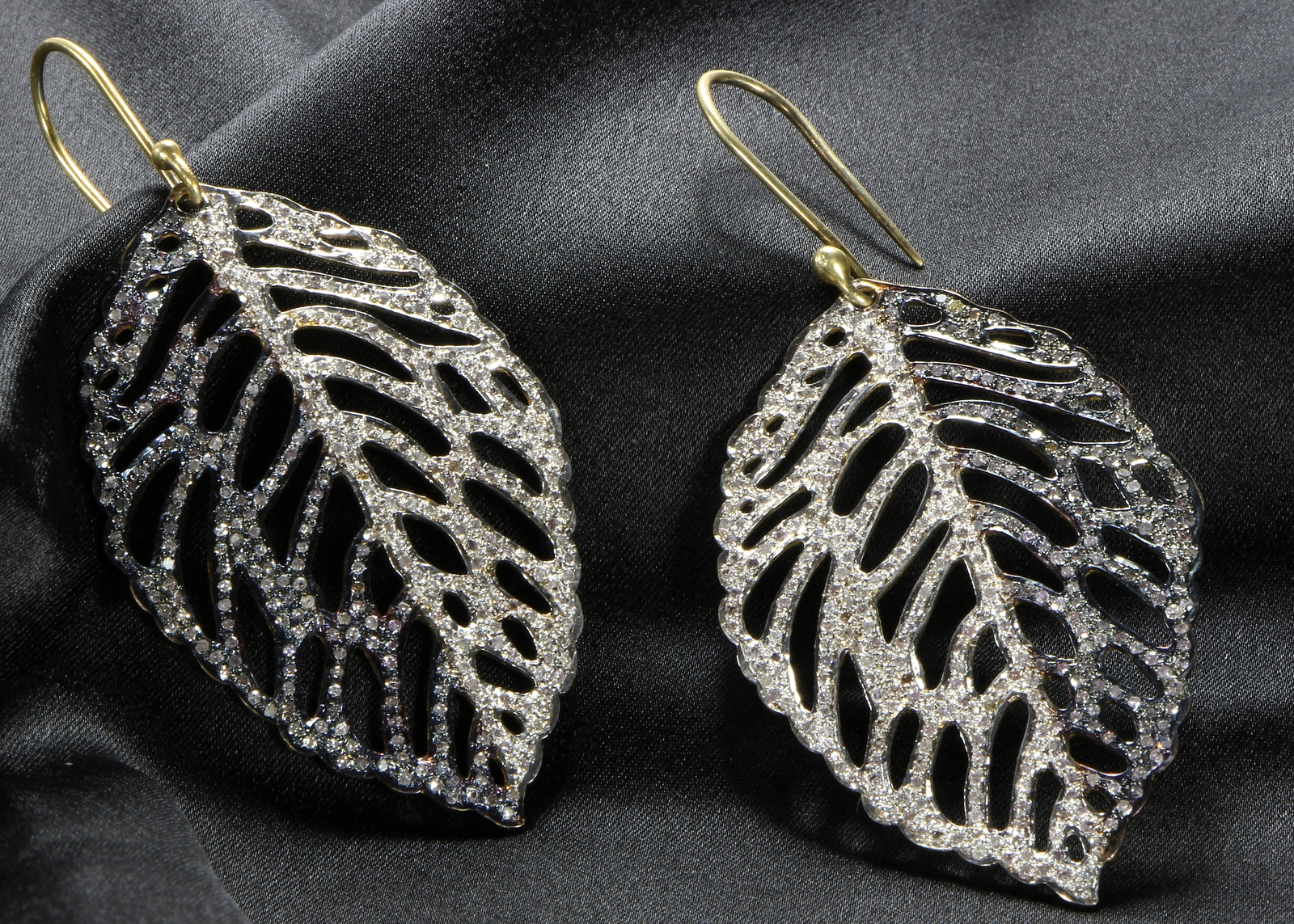 Women Oxidized Dangling Hook Leaf Earrings .925SterlingSilver with Pave Diamonds