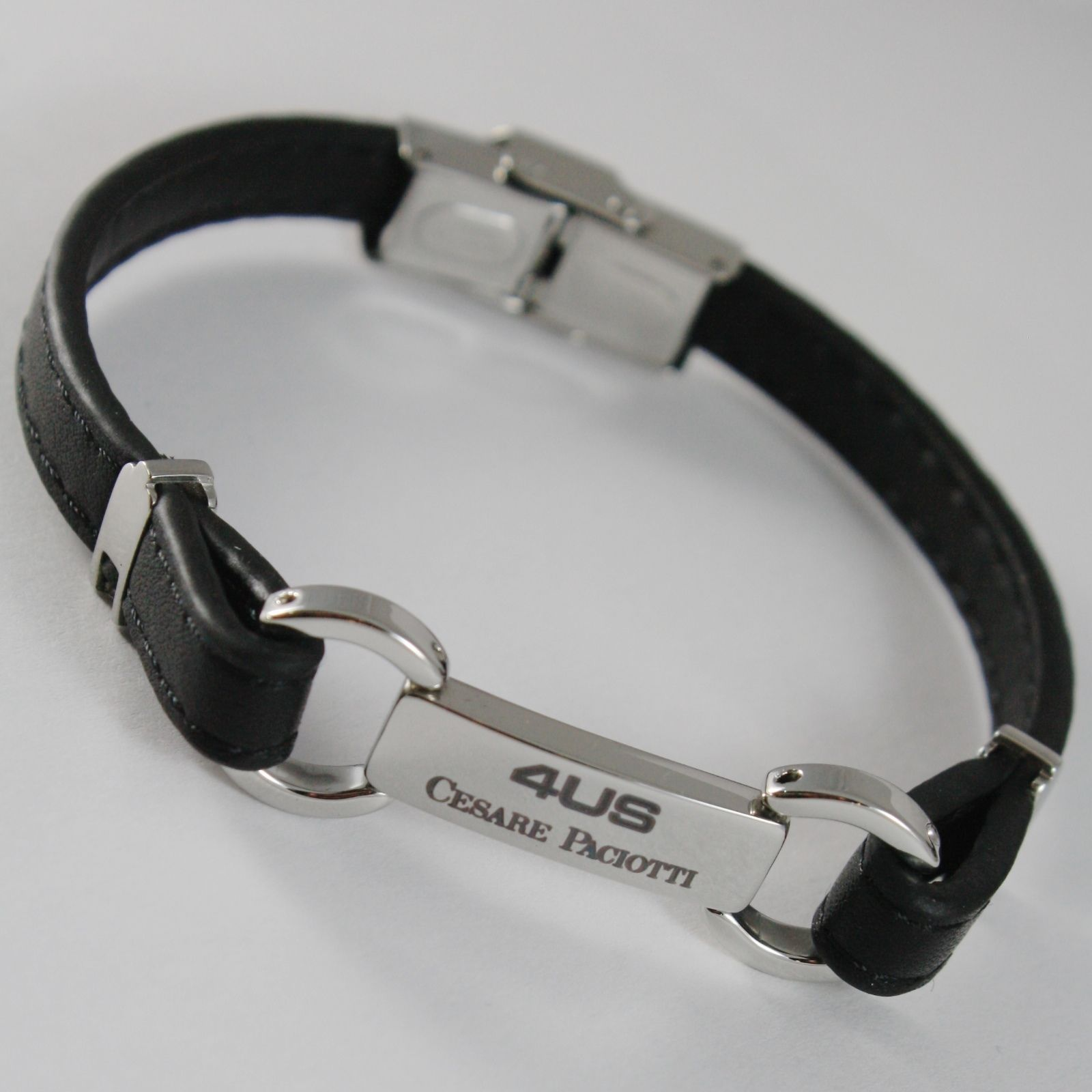 STAINLESS STEEL BRACELET WITH PLATE AND LEATHER BAND, 4US BY CESARE PACIOTTI