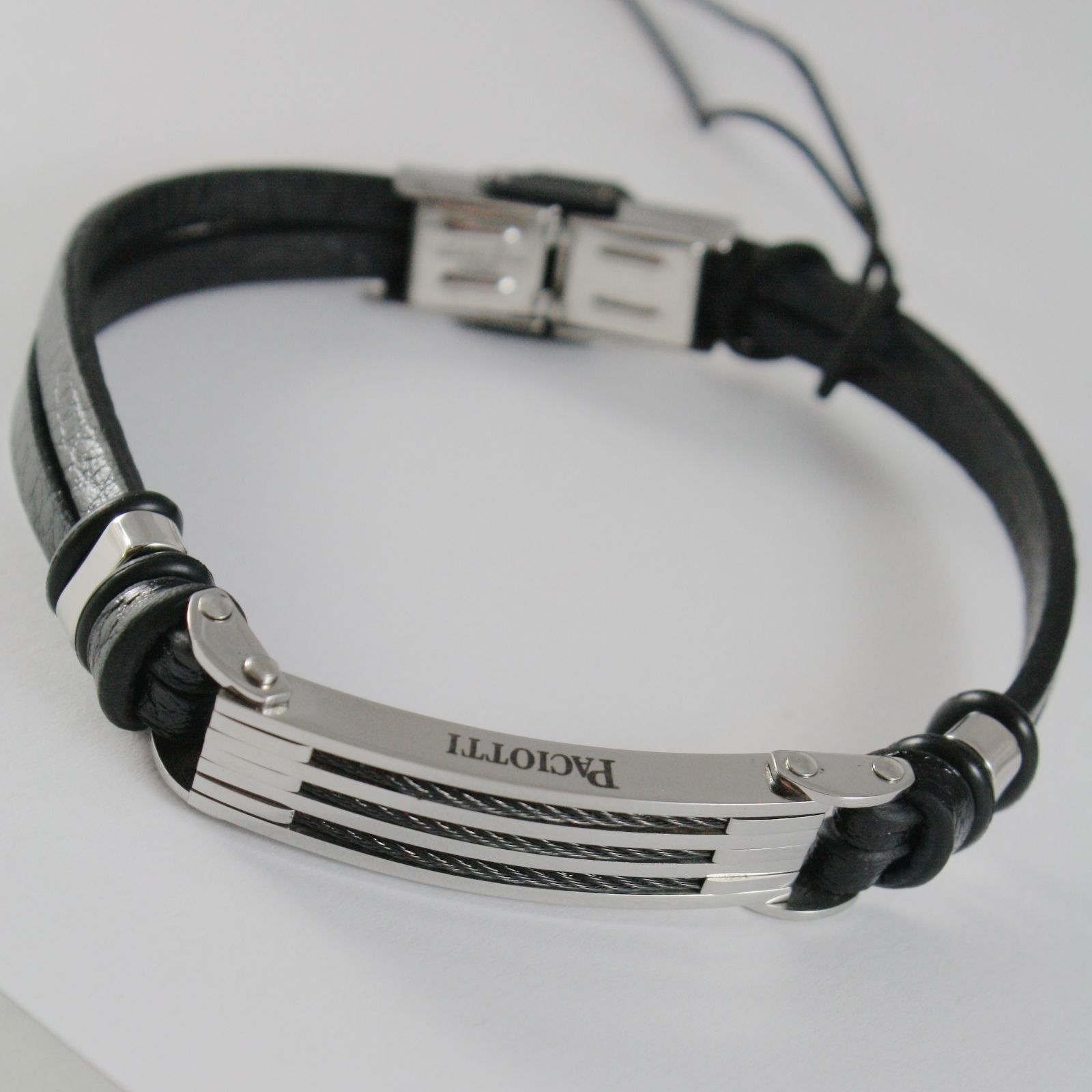 STAINLESS STEEL BRACELET WITH CABLE PLATE LEATHER BAND, 4US BY CESARE PACIOTTI