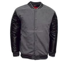 Maximos Men's Charcoal Black Two Colors Baseball Letterman Varsity Bombe... - $37.99
