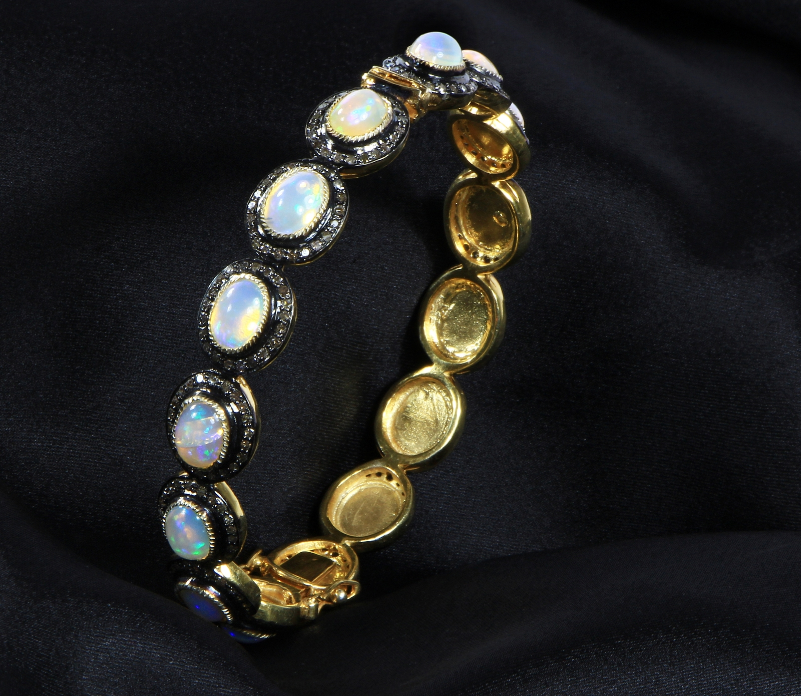 Round Openable Bangle 14kt Gold .925Sterling Silver with Opal and Pave Diamonds
