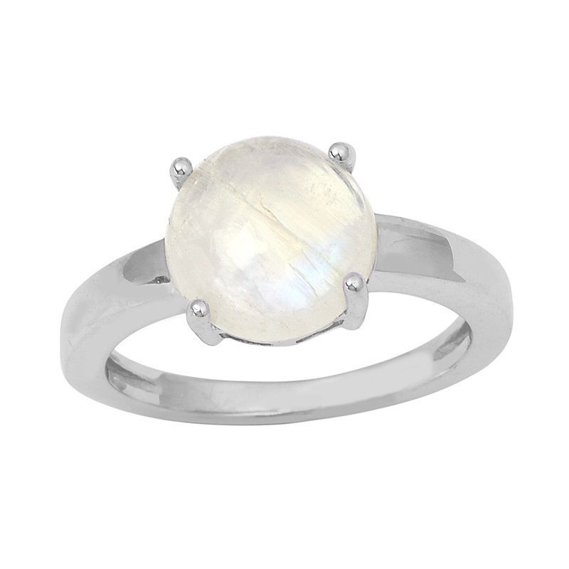 Rainbow Moonstone Prong Set 925 Sterling Silver Jewelry Ring  Sz 5.5 SHRI0819