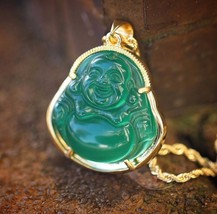 Mens 18k Gold Green Jade Buddha Pendant And Rope Chain Necklace - $399.99