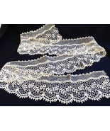 "VTG Victorian antique hand made cotton ecru Lace Trim 4 1/2"" wide 56"" L - $64.35"