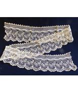 "VTG Victorian antique hand made cotton ecru Lace Trim 4 1/2"" wide 52"" L - $64.35"