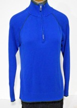 Eddie Bauer Sport Womens Size M Blue Gray Zip Henley Neck Long Sleeve Sweater - $11.72
