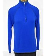 Eddie Bauer Sport Womens Size M Blue Gray Zip Henley Neck Long Sleeve Sw... - $15.64