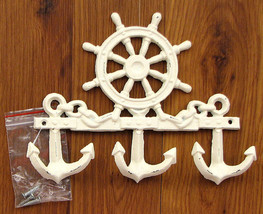 Cast Iron Ships Wheel Wall Hook Nautical Hooks Wall Mount Weathered Look - $19.79