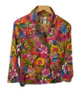 Vtg Bill Blass Flower Pattern Cotton Spandex Light Weight Blazer Jacket ... - $27.11