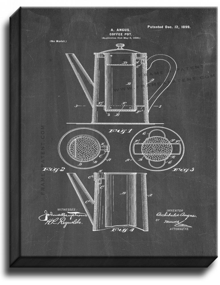 Primary image for Coffee Pot Patent Print Chalkboard on Canvas