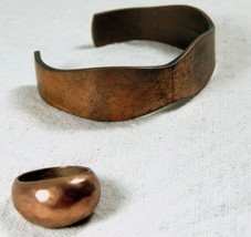 Vintage Copper Bracelet Adjustable and Vintage Copper Ring Size 8 - £37.49 GBP