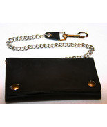 Black Leather Credit Card Wallet with Chain Bik... - $39.99