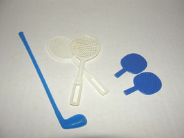 Vintage Barbie Ken doll Blue Golf Putter Tennis Racquets Pink Pong - $4.99