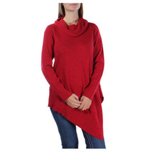 Alfani Asymmetrical-Hem Cowl-Neck Sweater. Red. Medium - $34.40
