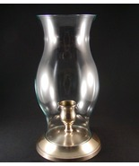 Vintage Brass Candle Holder with Glass Hurrican... - $10.00