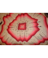 Hand crocheted multi pink/white  granny square/ripple afghan/lapghan/bla... - $75.00