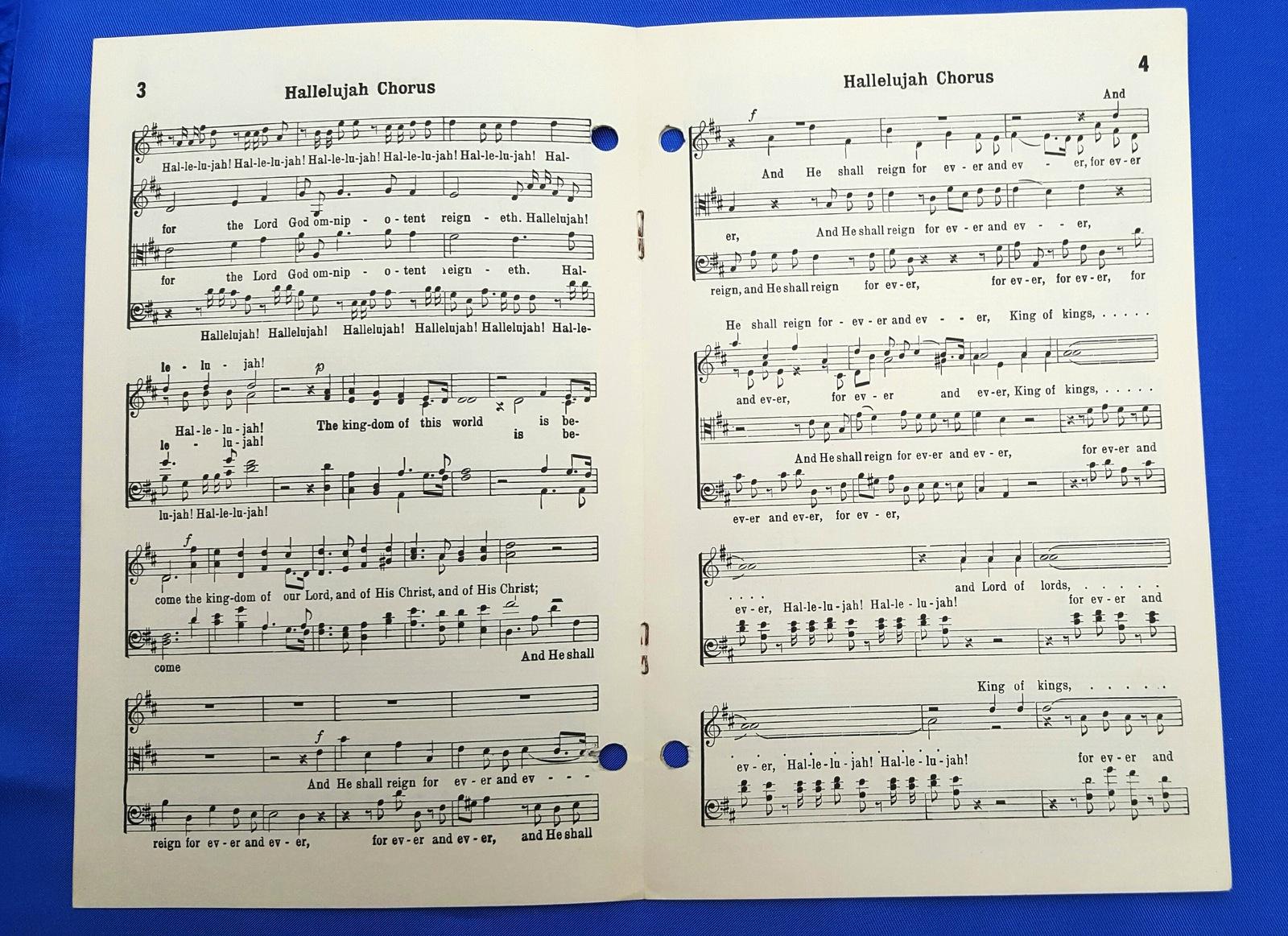 Vintage 1960 Christian Sheet Music Hallelujah Chorus  #4879/ #5579
