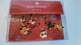 Christmas Wine Glass Charm Set of 6:Candy Cane Tree Sleigh Snowman Stock... - $10.01 CAD