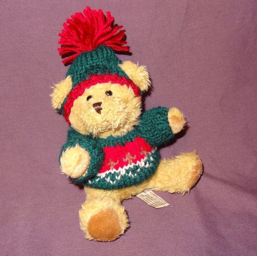 """Brown Teddy Bear Green Red Sweater Hat Plush Stuffed Animal Toy 7"""" Hugfun Int'l"""