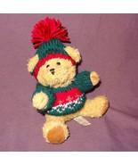 """Brown Teddy Bear Green Red Sweater Hat Plush Stuffed Animal Toy 7"""" Hugfu... - $7.78"""
