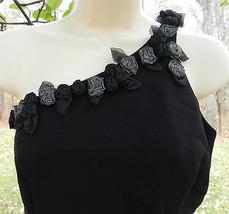 ANDREA POLIZZI Rex Lester Black Long Evening Dress One Shoulder Flower T... - $67.31