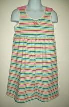 Gymboree Girls Dress Size 6 Rainbow Stripe Sleeveless Bow Detail Casual Summer - $21.55