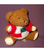 """Brown Teddy Bear Tan Green Red Sweater Plush Stuffed Animal Toy 6"""" Hugfu... - $6.78"""