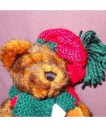 """Brown Teddy Bear Green Red Scarf Hat Plush Stuffed Animal Toy 7"""" Hugfun ... - $9.99"""