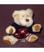 """Tan Teddy Bear Blue Red Star Sweater Plush Stuffed Animal Toy 5"""" Hugfun ... - $6.78"""