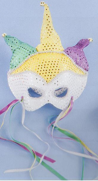 JESTER MARDI GRAS MASK SEQUIN DOT ON HEADBAND Bonanza