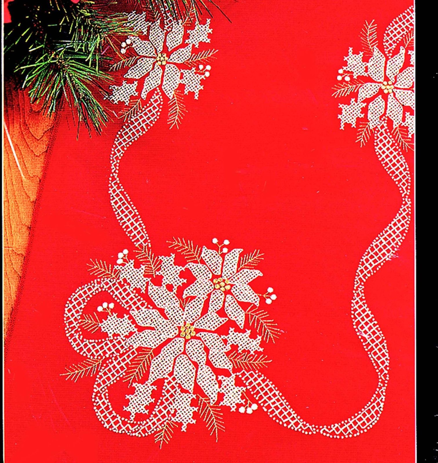 Primary image for CROSS STITCH POINSETTIA TABLERUNNER WHITE ON RED KIT CHRISTMAS BUCILLA