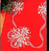 Cross Stitch Poinsettia Tablerunner White On Red Kit Christmas Bucilla - $24.98