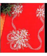 CROSS STITCH POINSETTIA TABLERUNNER WHITE ON RED KIT CHRISTMAS BUCILLA - $24.98