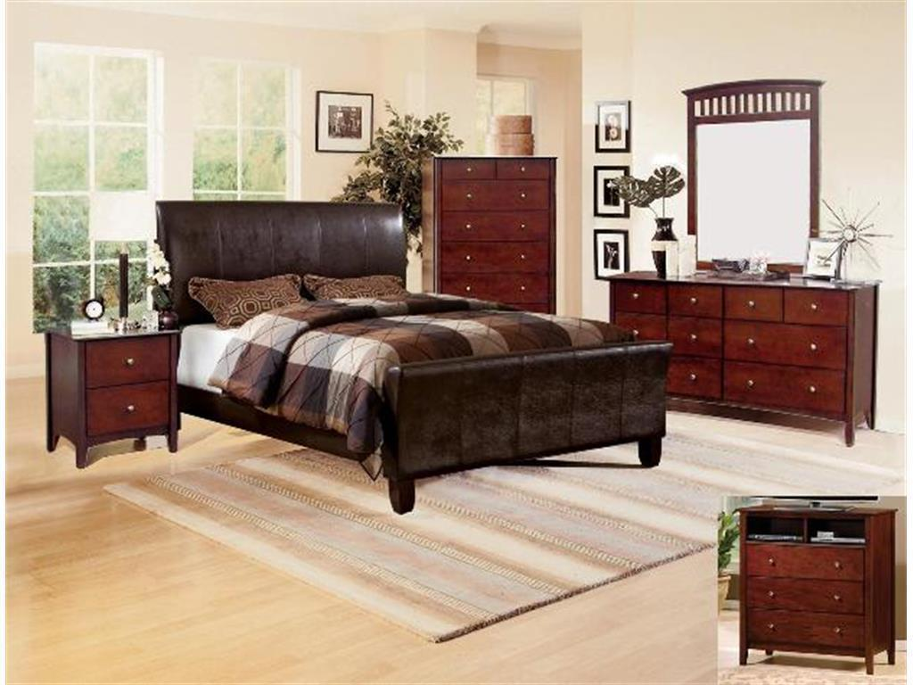 Tomas Dark Espresso Upholstered Bed Contemporary 4 Piece Bedroom Furniture Set