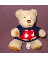 """Tan Teddy Bear Blue Red Cream Sweater Plush Stuffed Animal Toy 6"""" Hugfun... - $6.78"""