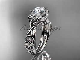 Platinum diamond celtic trinity knot engagement ring, Moissanite, CT7289 - $2,025.00