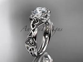 Platinum diamond celtic trinity knot engagement ring, Moissanite, CT7289 - $2,025.00