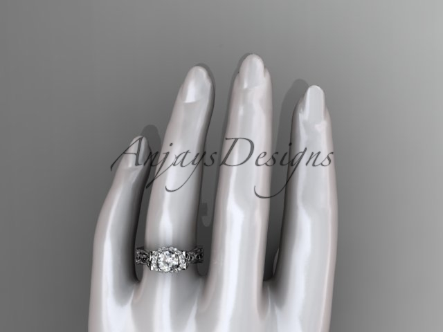 Platinum diamond celtic trinity knot engagement ring, Moissanite, CT7289