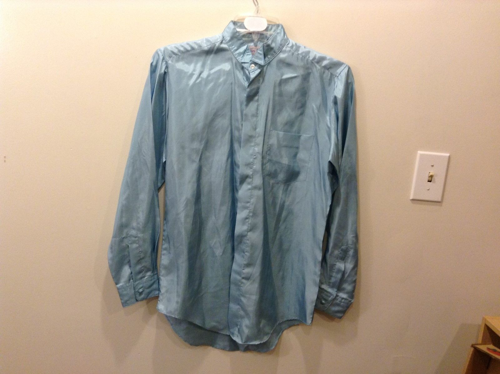 Today's Man 100% Polyester Fused Collar Light Blue Button Down Shirt