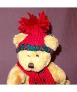 """Brown Teddy Bear Red Green Scarf Hat Plush Stuffed Animal Toy 7"""" Hugfun ... - $6.78"""