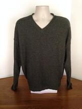 Men's Eddie Bauer Green V-Neck Cotton Blend Sweater Size XL Made in USA - $28.05