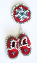 Fabulous Native Seed Bead on Red Cloth Moccasins Brooch 1970s vintage 3 ... - $18.95