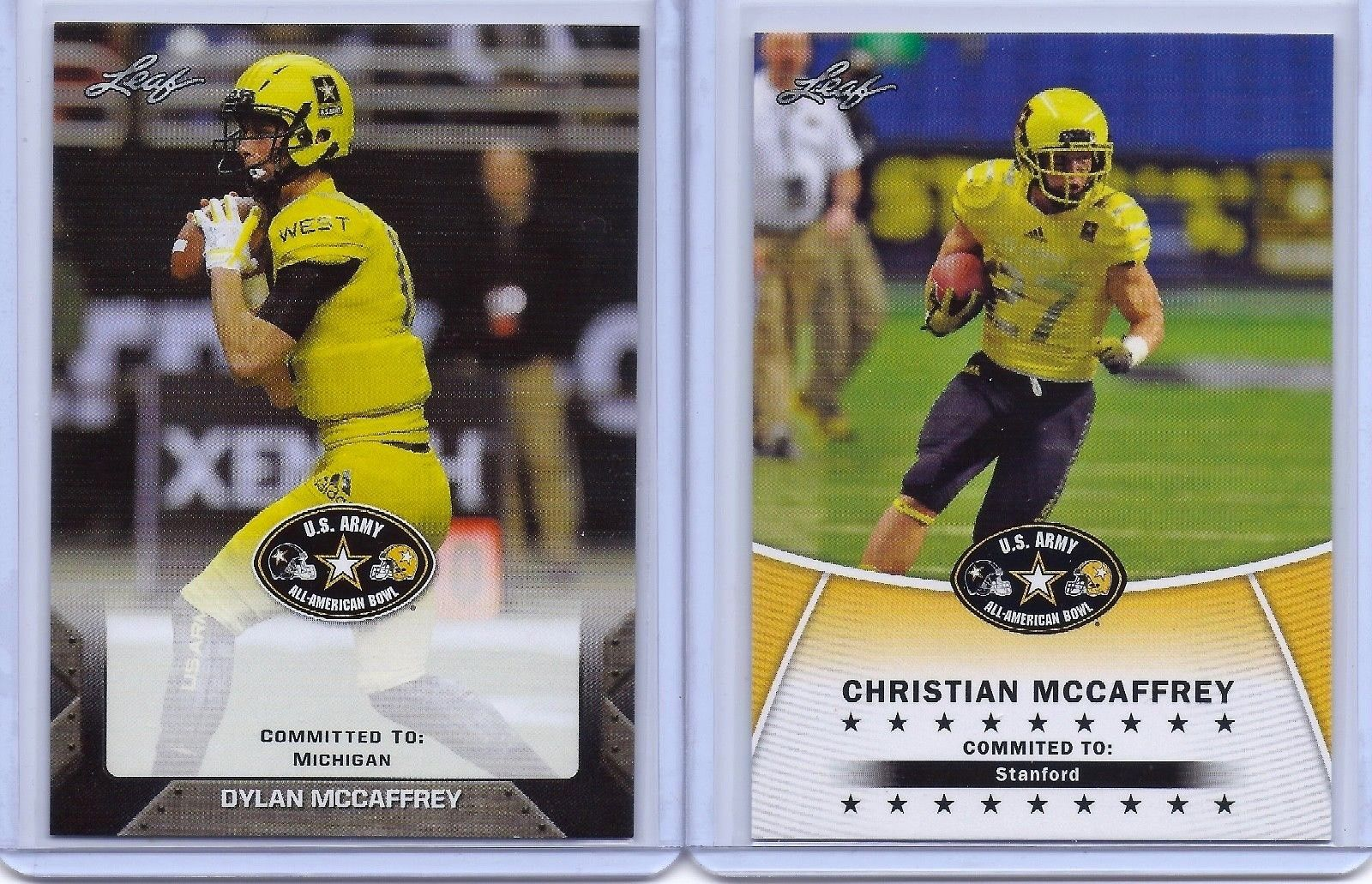 CHRISTIAN & DYLAN McCAFFREY 2014/17 LEAF  U.S. ARMY HIGH SCHOOL ROOKIE CARD LOT!