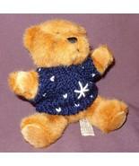 "Brown Teddy Bear Blue White Sweater Plush Stuffed Animal Toy 6"" Hugfun I... - $8.78"