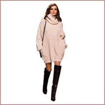 Loose Long Sleeve Beige or Gray Knitted Cowl Turtleneck Pullover Sweater Dress