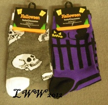 2 pairs Halloween Skull purple Striped Cat jack-o-lantern Ladies Socks s... - $5.99